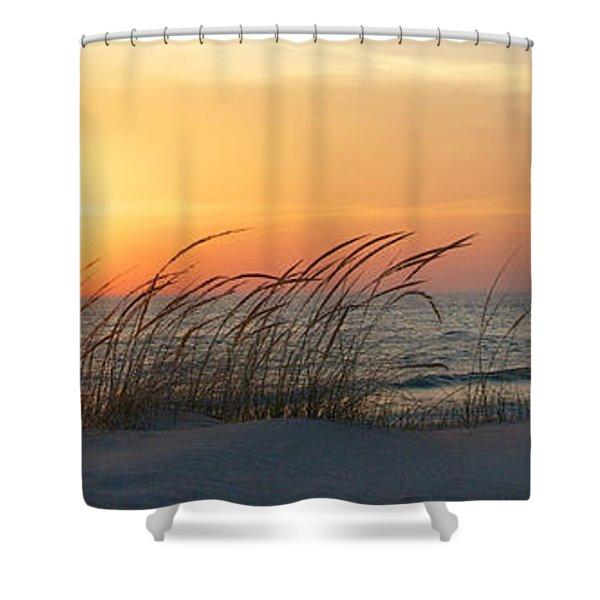 Lake Michigan Sunset Panorama Shower Curtain