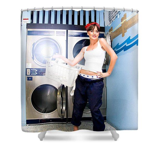 Laundry Mat Woman Shower Curtain