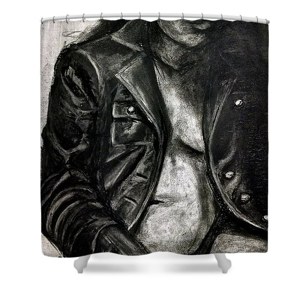 Shower Curtain featuring the drawing Leather Jacket by Gabrielle Wilson-Sealy