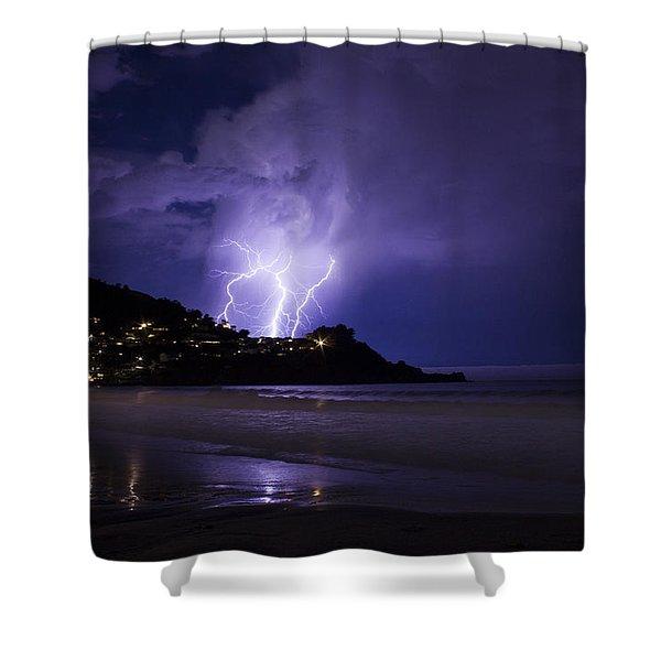 Lightning Over The Ocean Shower Curtain