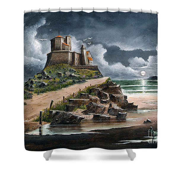 Shower Curtain featuring the painting Lindisfarne by Ken Wood