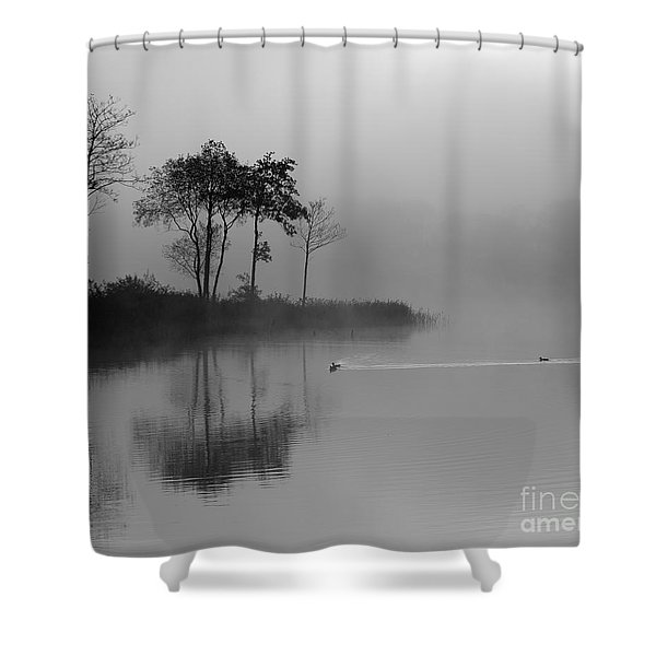 Loch Ard Trees In The Morning Mist Shower Curtain