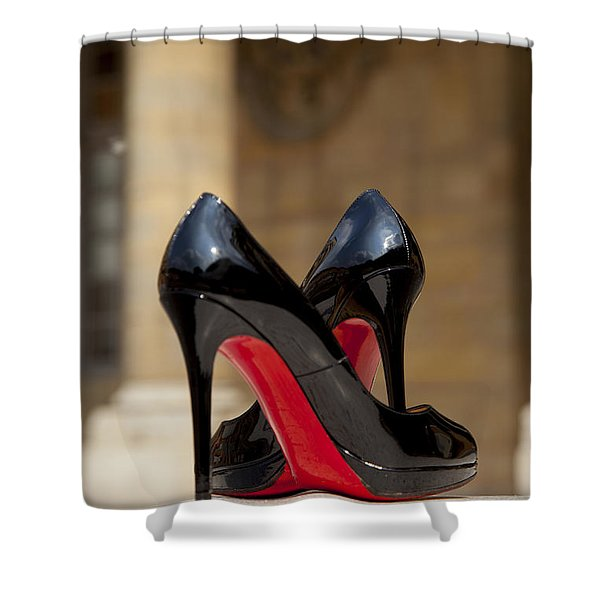 Shower Curtain featuring the photograph Louboutin Heels by Brian Jannsen
