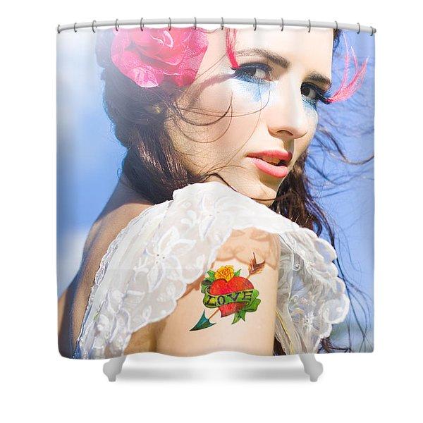 Love Heart And Arrow Tattoo Shower Curtain