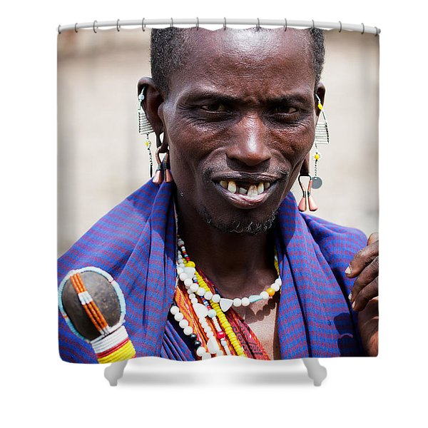 Maasai Man Portrait In Tanzania Shower Curtain