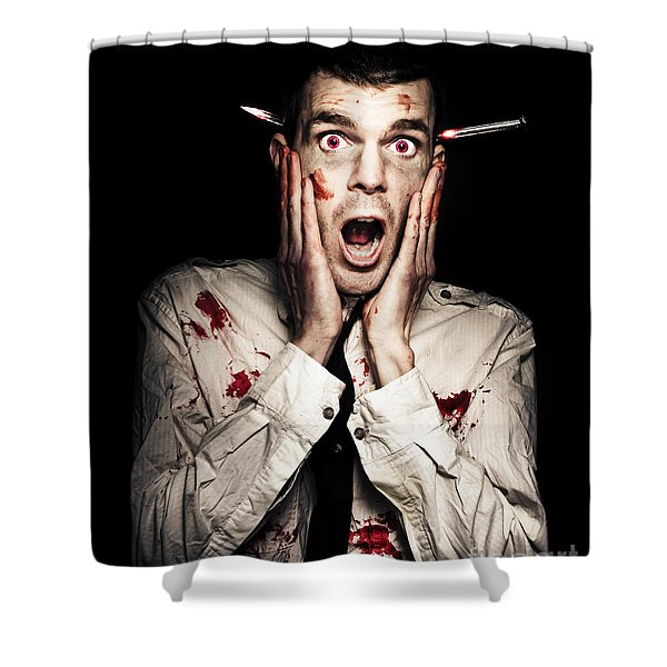 Male Zombie Businessman Displaying Shock Horror Shower Curtain