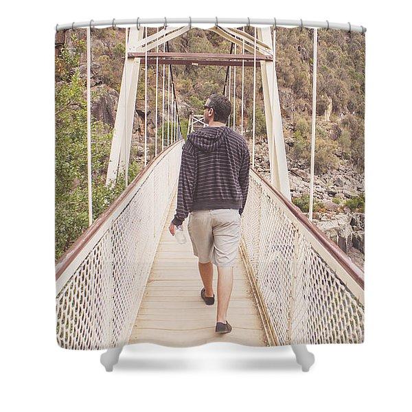 Man On Alexandra Suspension Bridge In Tasmania Shower Curtain