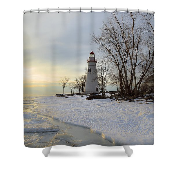 Marblehead Lighthouse Winter Sunrise Shower Curtain