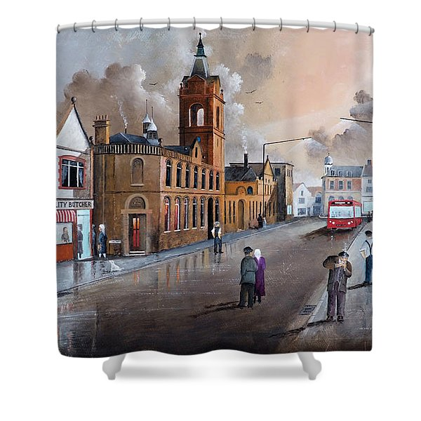 Shower Curtain featuring the painting Market Street - Stourbridge by Ken Wood