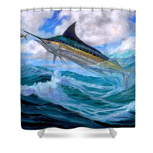 Marlin Low-flying Shower Curtain