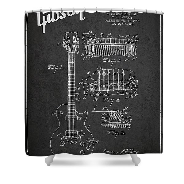 Mccarty Gibson Les Paul Guitar Patent Drawing From 1955 -  Dark Shower Curtain