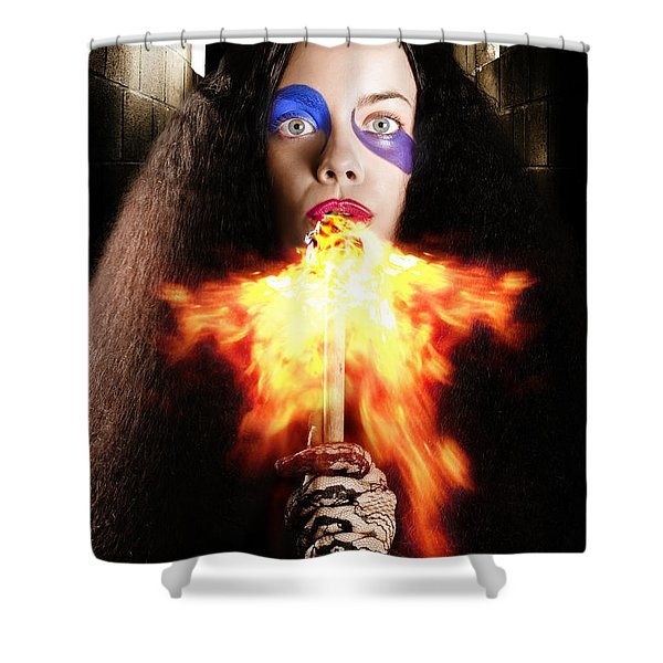 Medieval Jester Breathing Fire During Carnival Act Shower Curtain