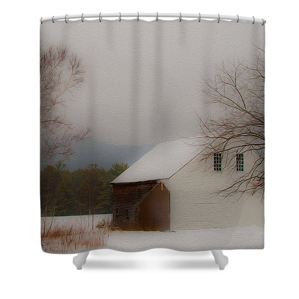 Melvin Village Barn Shower Curtain
