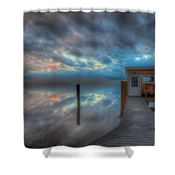 Melvin Village Marina In The Fog Shower Curtain