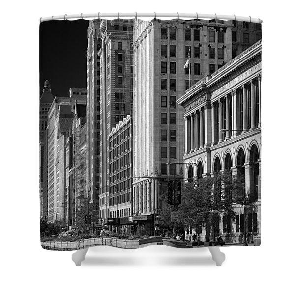 Michigan Avenue Chicago B W Shower Curtain