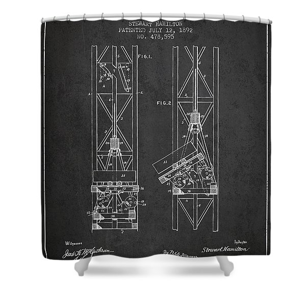 Mine Elevator Patent From 1892 - Charcoal Shower Curtain