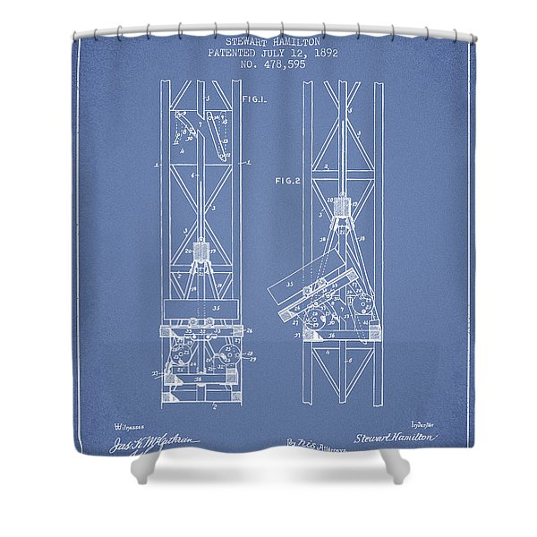 Mine Elevator Patent From 1892 - Light Blue Shower Curtain