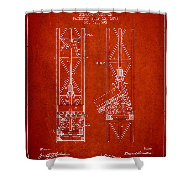 Mine Elevator Patent From 1892 - Red Shower Curtain
