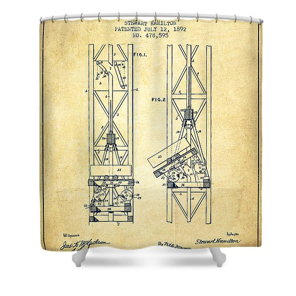Mine Elevator Patent From 1892 - Vintage Shower Curtain