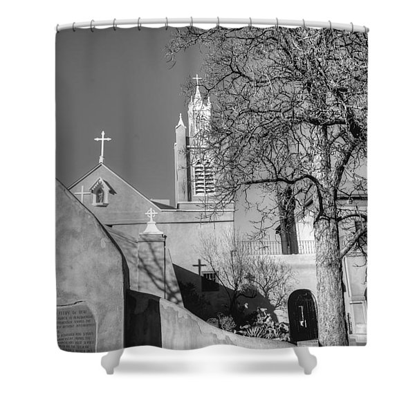 Mission In Black And White Shower Curtain