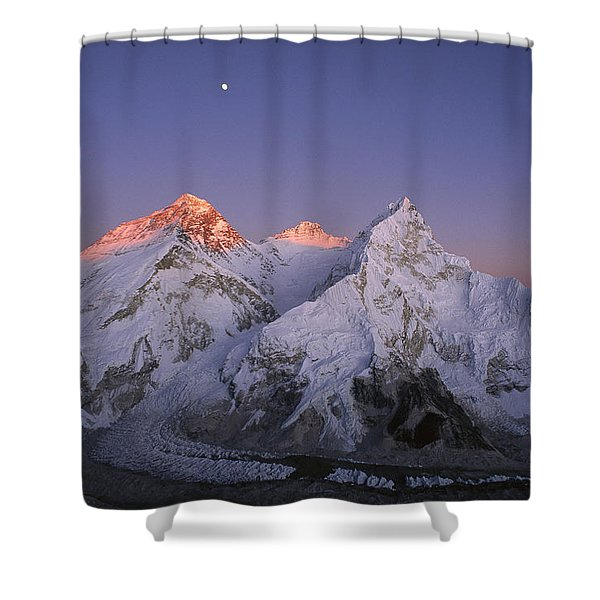 Moon Over Mount Everest Summit Shower Curtain