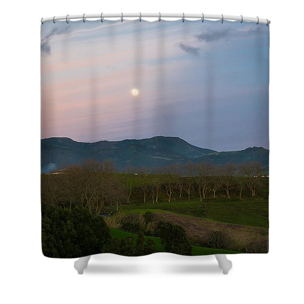 Moon Over The Hills Of Povoacao Shower Curtain