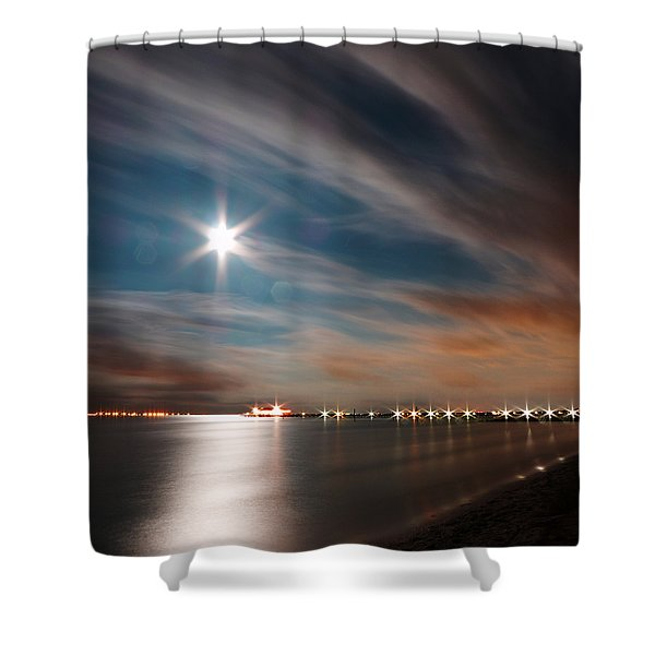 Moon Rise Over Anna Maria Island Historic City Pier Shower Curtain