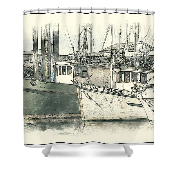 Moored Fishing Boats Shower Curtain