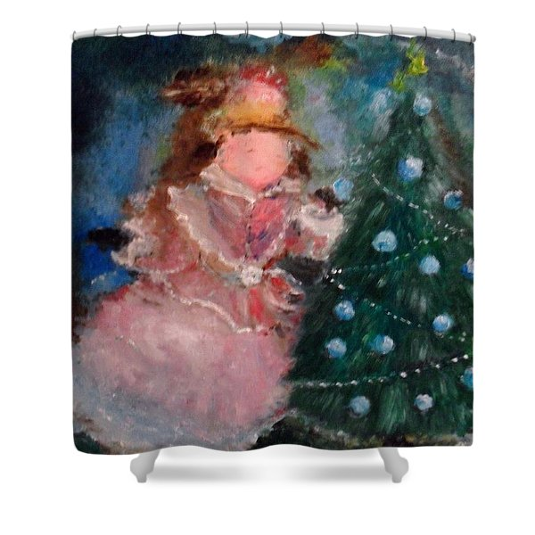 Shower Curtain featuring the painting Mother Christmas by Laurie Lundquist