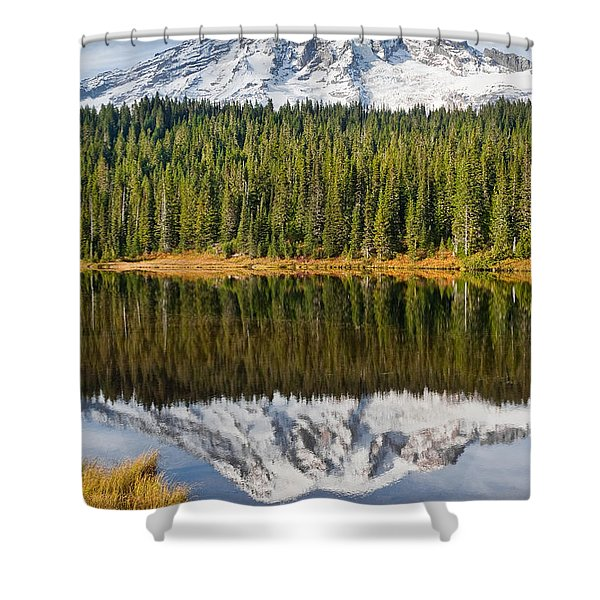 Mount Rainier And Reflection Lakes In The Fall Shower Curtain