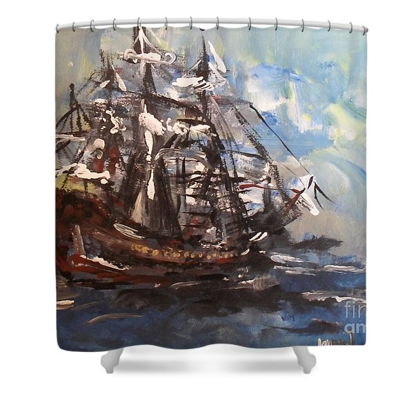 Shower Curtain featuring the painting My Ship by Laurie Lundquist