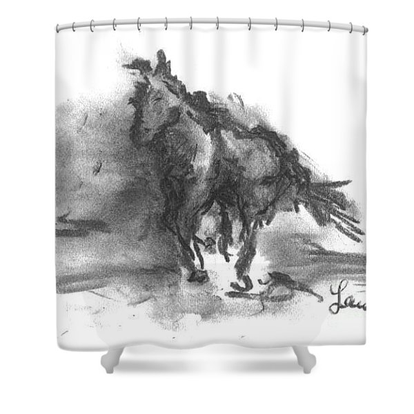 Shower Curtain featuring the drawing My Stallion by Laurie Lundquist