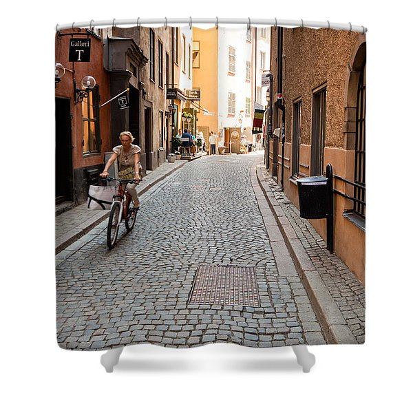 Narrow Stockholm Street Sweden Shower Curtain