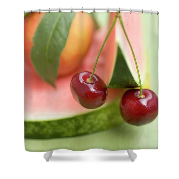 Nectarine With Leaves, Watermelon And Cherries Shower Curtain