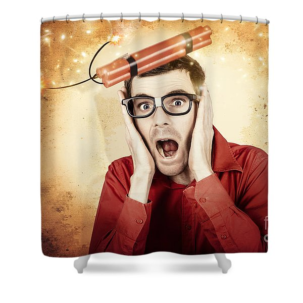 Nerd Business Man Shouting Out In Fear Of A Bomb Shower Curtain