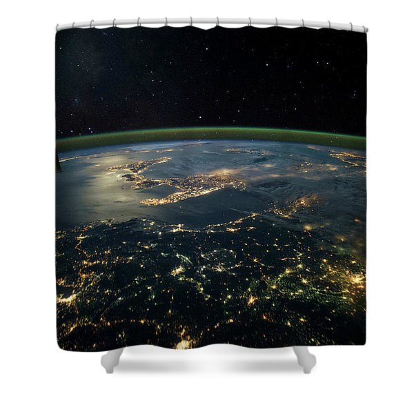 Night Time Satellite View Of Planet Shower Curtain