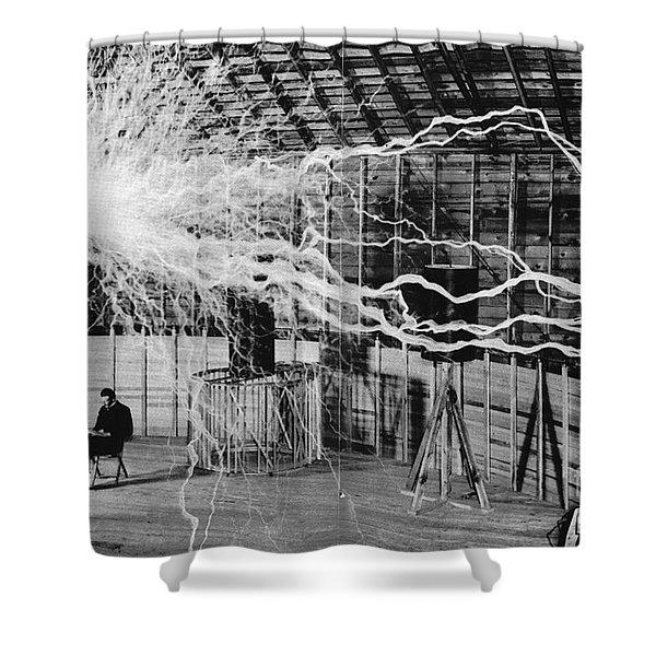 Nikola Tesla Serbian-american Inventor Shower Curtain