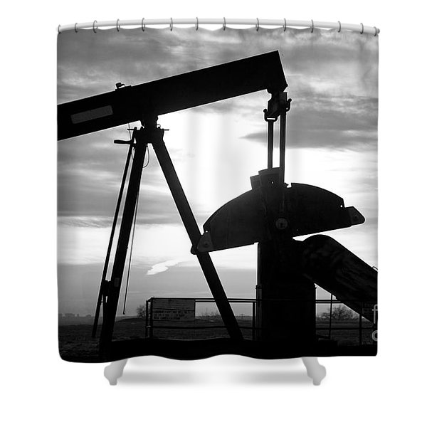 Oil Well Pump Jack Black And White Shower Curtain
