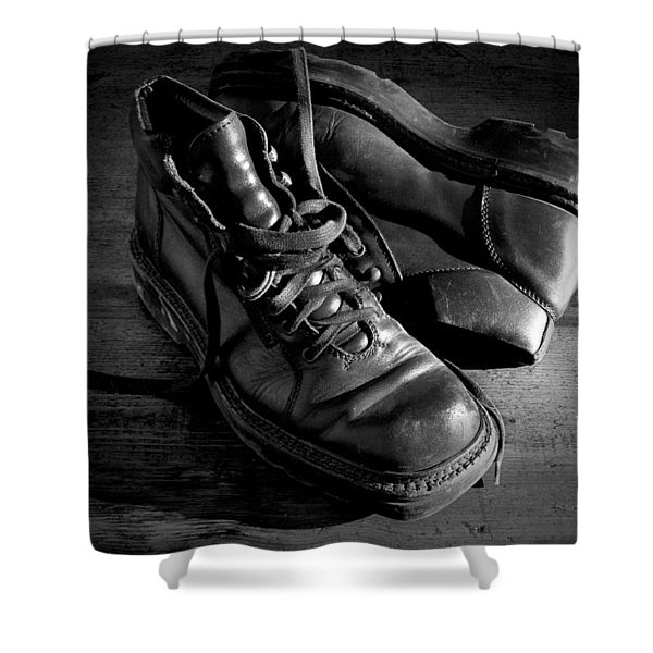 Old Leather Shoes Shower Curtain