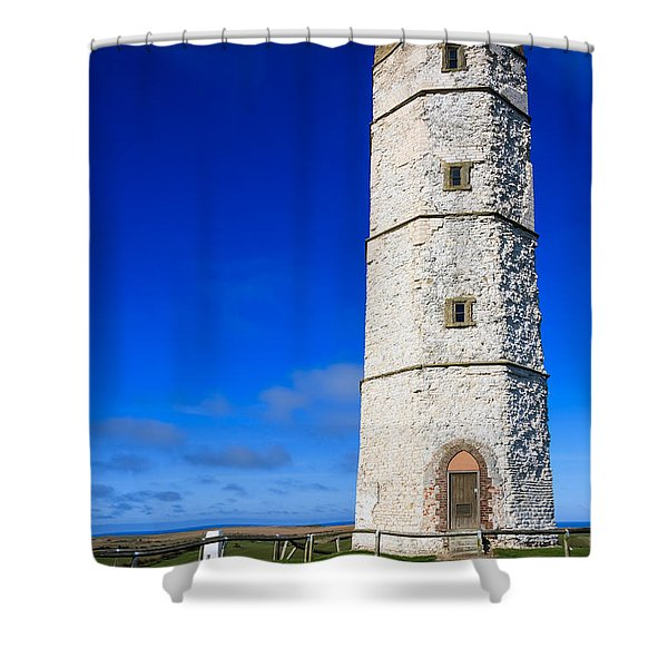 Old Lighthouse Flamborough Shower Curtain