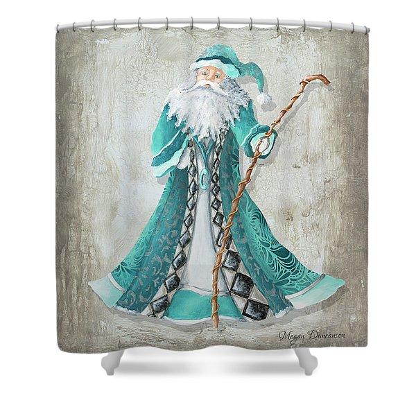 Old World Style Turquoise Aqua Teal Santa Claus Christmas Art By Megan Duncanson Shower Curtain