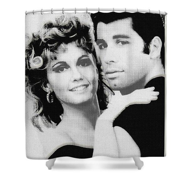 Olivia Newton John And John Travolta In Grease Collage Shower Curtain