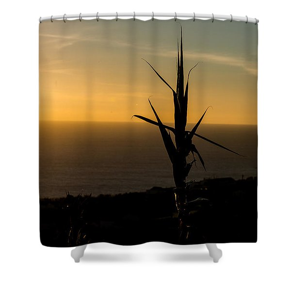 One At Sunset Shower Curtain