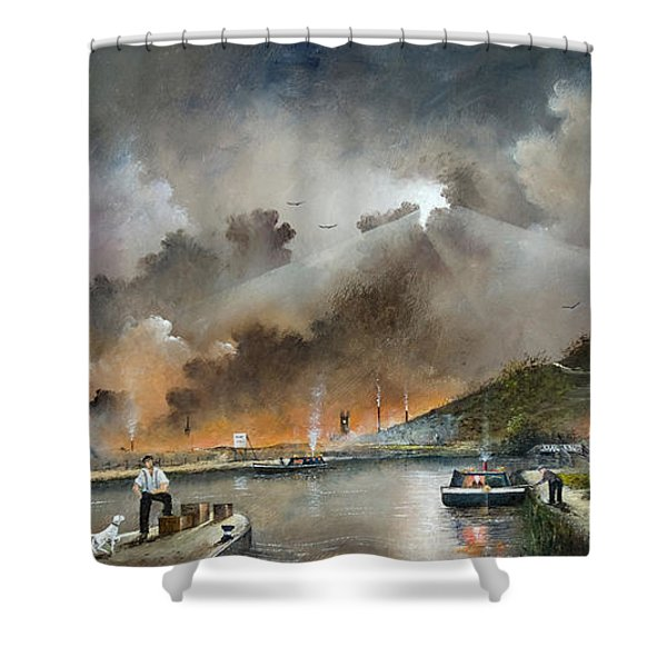 Shower Curtain featuring the painting Original Site Of The Black Country Museum by Ken Wood