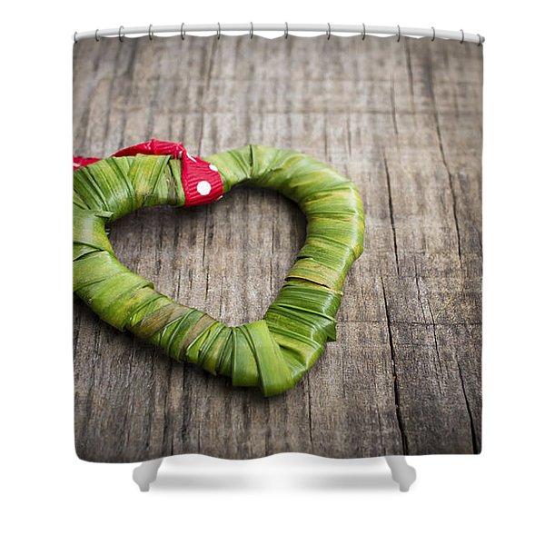 Palm Leaf Heart Shower Curtain
