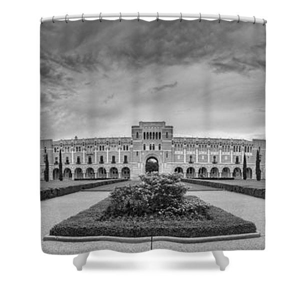 Panorama Of Rice University Academic Quad Black And White - Houston Texas Shower Curtain