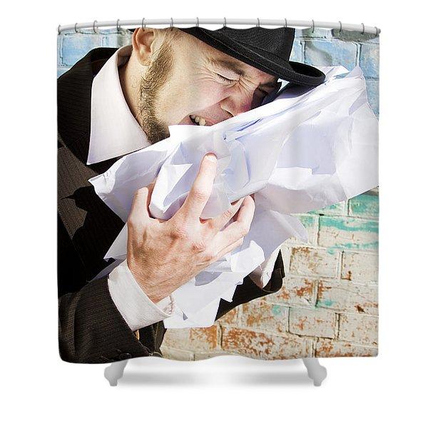 Paperwork Blues Shower Curtain
