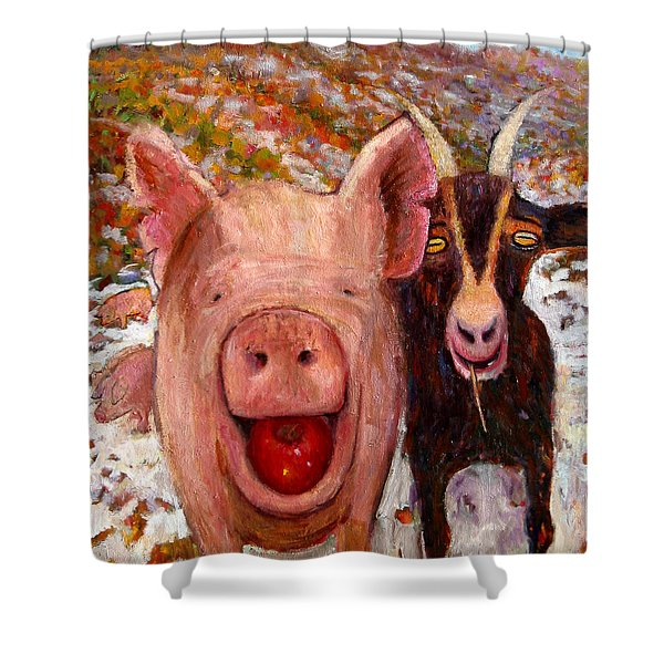 Pig And Goat Shower Curtain