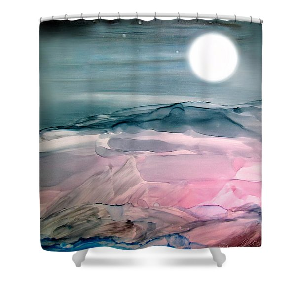 Pink Quartz Island Under The Moon Alcohol Inks Shower Curtain