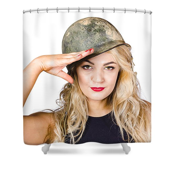 Pinup Beauty Saluting To A Mission Accomplished Shower Curtain